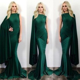 Barato Vestido Verde Escuro De Manga-One Sleeve Mermaid Evening Dresses Dark Green Jewel Sweep Train Spandex Celebrity Prom Party Vestidos Custom Plus Size Evening Gowns