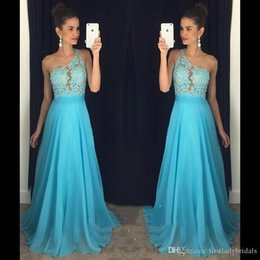 images one pieces dresses for party 2019 - 2017 Light Sky Blue Prom Dresses One Shoulder A-line Chiffon Long Custom Made Evening Party Gowns For Girls cheap images
