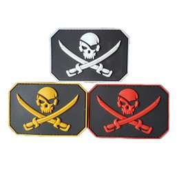 d3ebbccc581 Pirate Skull   Swords Glow Army Morale 3d Pvc Badge Swat Patch Rubber  Tactical Patch Armband Tactical Patches