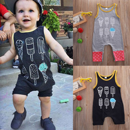 sleeveless boys rompers Australia - Baby Boy clothes Toddler Rompers Overall Shorts Kids Clothing Infant Tracksuit Playsuit Pajamas Vest Bodysuit Black Cotton Jumpsuit