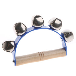 languages learning 2018 - Handheld Sleigh Bells with Wooden Handle Hand Bell Percussion Musical Toys Kids Blue cheap languages learning