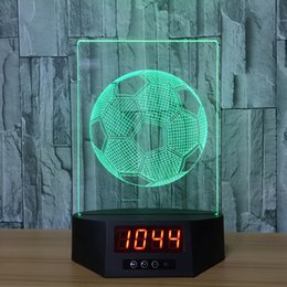 power touch remote 2019 - Football 3D Illusion Clock Lamp Night Light RGB Lights USB Powered 5th Battery IR Remote Dropshipping Retail Box discoun