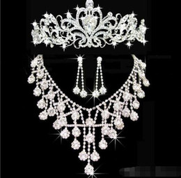 Tiaras gold Tiaras Crowns Wedding Hair Jewelry neceklace Earring Cheap Wholesale Fashion Girls Evening Prom Party Dresses Accessories