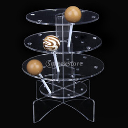 Tiers En Gros Pas Cher-Vente en gros - 3-Tier 18 trous Cake Acrylique Pop Lollipop Cupcake Display Stand