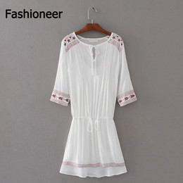 Robes En Dentelle En Coton Femmes Pas Cher-Fashioneer Dress For Woman V Neck Lace Up Slim Broderie Floral Sashes Cotton Summer Long Sleeve Mini Dresses Womens Lady S-L Taille