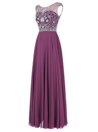 Cristaux Violets Pour Robes Pas Cher-Livraison gratuite Vestidos Para Festa 2017 Dress Party Evening Elegant Purple Chiffon Cristaux Long Evening Prom Dresses
