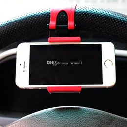 Wholesale DHL Car Steering Wheel cell phone ring holder Clip Car Bike Mount Stand Flexible Cradle holder for iphone samsung Phone GPS Christmas gifts