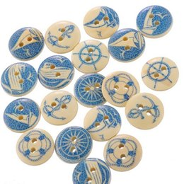 craft wholesale wooden natural buttons Australia - 50PCs Wholesale Natural Wooden Round Buttons Blue Nautical Design Scrapbooking Sewing Accessories DIY Craft 2 Holes 15mm Dia.