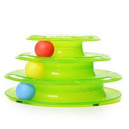 Used Cat UK - High Quality Easy To Use Three Levels Tower Tracks Disc Cat Pet Toy Intelligence Amusement Rides Shelf