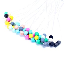 Silicone Baby Food Canada - Hot Sale 70CM 100% BPA Free Food Grade Silicone Baby Chew Beads Teething Necklace Wholesale Nursing Jewelry Teether for Mom Mommy to Wear