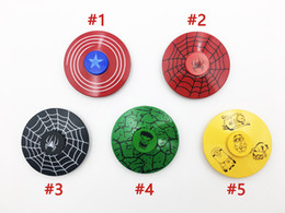 Captain ameriCa shield hand spinner online shopping - New arrival Fidget spinner Captain America Shield Iron Spider man hulk metal hand spinners Rainbow spinning top finger toys in retail box