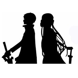 $enCountryForm.capitalKeyWord Australia - Wholesale 10pcs lot Legendary Novel Beautiful Guy Wearing A Sword Kirito Asuna Sao Car Sticker for Wall SUV Motorcycle Car Decor Vinyl Decal