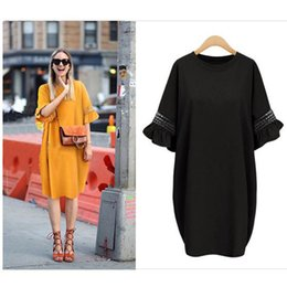 Robes En Gros En Vrac Pas Cher-Vente en gros - Summer Loose Dress Women 2017 Flare Sleeve Beach Dress Boho T-shirt Robes Hollow Out Cotton Robes Loose Vestidos Robe Femme