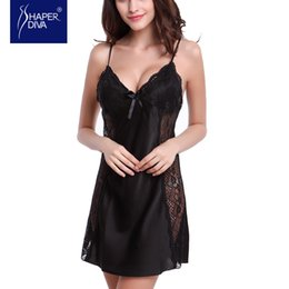 Camisones Bebé S Baratos-Venta al por mayor- Burvogue Sexy Nightdress Silk Baby Dolls ropa de dormir Lace Lingerie Babydoll Nightdress Nightgown Baby Dolls Lingerie Mujer