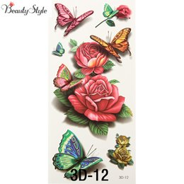China Wholesale- 10Pcs 3D Body Art Chest Sleeve Stickers Glitter Temporary Tattoos Removal Fake Small Rose Butterfly Design For Body Leg Painting cheap fake rose tattoos suppliers