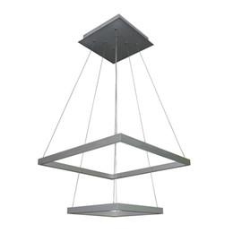 $enCountryForm.capitalKeyWord UK - lxledlight Modern Two-Tier Square LED Chandelier Lighting with Adjustable Hanging Light, Silver
