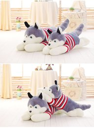 $enCountryForm.capitalKeyWord NZ - 2017 high quality 1 PCS size 55 cm Cartoon gray sweater husky dog plush toy child cloth doll, a Large pillow child Christmas as a birthday g