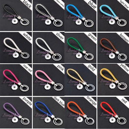 $enCountryForm.capitalKeyWord Canada - Hot Sale Top Popular 09 Fashion Weave PU Leather Key Chains 18mm Snap Button Keychain Jewelry For Men Women 16 Colors Key rings