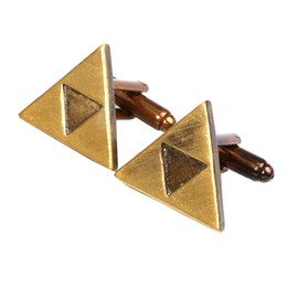 triangles games UK - The Legend Of Zelda Cufflinks Metal Triangle French Cufflinks For Shirt Dress Game Jewelry 2 Styles Free Shipping
