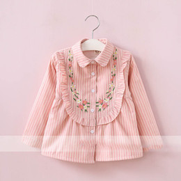 Chemisier Femme Rose Pas Cher-Everweekend Girls Floral Brodés à rayures Blouses Cute Baby Pink et Brown Color Tees Lovely Kids Fleece Doublure Autumn Tops