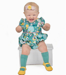 Imprimer Bébé Bloomers Pas Cher-Baby Girls Rompers Summer Floral Printed Girls Romper puff manches courtes Bloomers Infant Bodysuit Nouveau-né Jumpsuit Toddler Onesie C1340