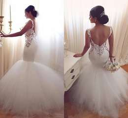 Barato Vestido De Noiva De Damasco De Sereia De Tule-Vintage Mermaid Wedding Dresses 2016 Low Back Sexy V Neck Lace Appliques Backless Vestidos de casamento Tulle Sweep Train White Beach Vestido de noiva
