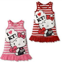 Pinafore Dresses NZ - Girls Striped Dress Sundress Children Cartoon Hello Kitty Printed Sleeveless Dresses Kids Cotton Ruffles Jumper Skirts Pinafore Dress