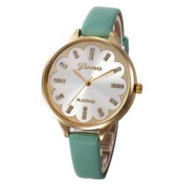 e6369d2fc Fashion PU Leather Quartz Watch Geneva PLATINUM Analog Rhinestones Watches  Exquisite Thin strap Dress Wristwatch For Christmas Party Gift