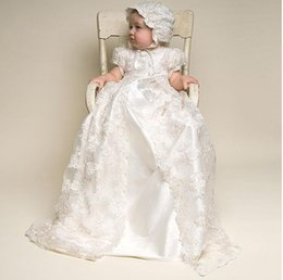 $enCountryForm.capitalKeyWord Canada - Cute Newborn Baby Christening Dresses Crawling 2017 Hot Short Sleeves Satin Long Toddler Baptism Gowns With Lace Jacket Hat