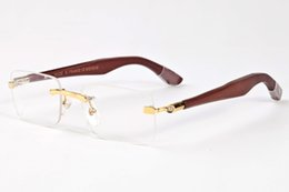 Discount mens wood sunglasses - brand designer sunglasses for mens bamboo wood sunglasses retro eyeglasses big frame clear lenses 2017 luxury sun glasse