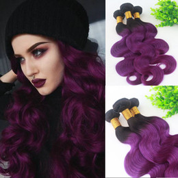 $enCountryForm.capitalKeyWord NZ - Human Hair Weave Bundles Ombre 1B Purple Two Tone Color Human Remy Hair Extensions Body Wave