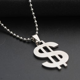 Jewelry Fashion Bead Necklaces NZ - Classic Dollar Symbol Stainless Steel Pendant Necklace Silver Color Beads Chain Necklace For Women Men Fashion Jewelry