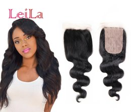 human hair weave part silk closures UK - Indian Human Hair Silk Base 4X4 Lace Closure Body Wave Weaves Closure Bleached knots Natural Color With Baby Hair
