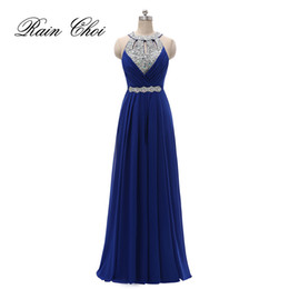 Barato Vestidos Sexy Halter-Sexy Halter Prom Dresses Long Crystals Sequins Evening Party Gowns Backless Formal Bridesmaids Dress Real Photo Under 100 Free Shipping