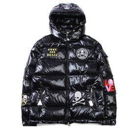 Barato Vestuário Grossista Anca-Atacado - Inverno Down Jacket Thick Warm Hip Hop Skulls Solid Hooded Men Coat Windproof Casacos de neve Man Outwear Brand Clothing