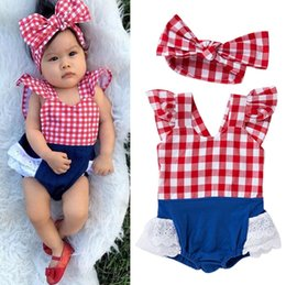 Bandeaux À Carreaux En Gros Pas Cher-Vente en gros de garçons Filles Bébé Rompers Ensembles de vêtements Dentelle à manches courtes Bébés Onesies Headbands 2pcs Set Newborn Bodysuit Outfits Toddler Clothes