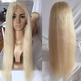 online shopping Color Platinum Blonde Glueless Full Lace Human Hair Wig Density Silky Straight Long Blonde Full Lace Wig With Baby hair