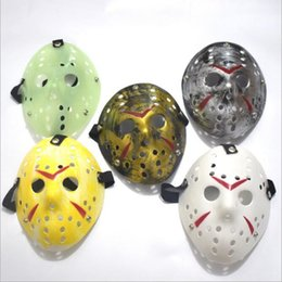 Mask Baratos-Retro Jason <b>Mask</b> Horror Funny Full Face <b>Mask</b> Bronce Halloween Cosplay Disfraz Máscaras de disfraces Fiesta de Hockey Fiesta de Pascua Suministros YW202