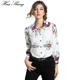 $enCountryForm.capitalKeyWord Canada - Hua Shang OL Style Women Summer Long Sleeve Shirt Elegant Retro Printing White Chiffon Blouse Female Office Shirt Women Clothing