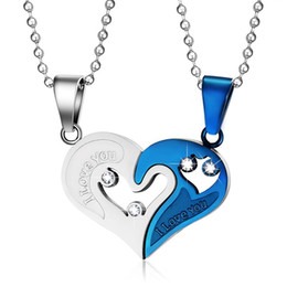 $enCountryForm.capitalKeyWord Australia - Slide Crystal Necklace For Women Men Fashion Lovers Necklaces & Pendants Stainless Steel Heart Shape Pendant For Couple CN-022