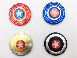 Captain ameriCa shield hand spinner online shopping - DHL Super Heroes Fidget Spinner America Captain Shield Marvel Finger hand Spinners AL Alloy Metal Toy Tri decompression toys Puzzle beyblade
