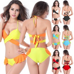 Barato Biquíni De Duplo Impulso Duplo-Small Flounced Butt Double Back gravatas Underwired Cup Push Up Sexy Young girls Bikini M.L.XL