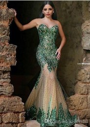 Barato Escuro Esmeralda Vestidos De Baile-Sweetheart Zipper Back Beaded Champagne Árabe Prom Gowns 2017 Hot Sexy Dark Emerald Green Sequined Mermaid Evening Dresses 259