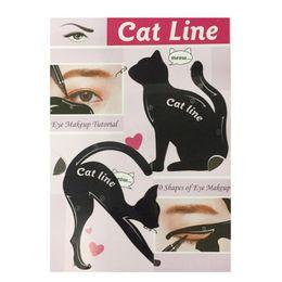 Lindo kit de la plantilla del eyeliner del gato para la plantilla de la guía de las cejas Maquiagem tarjeta de los marcos de la sombra de ojos herramientas del maquillaje 2pcs / set en venta