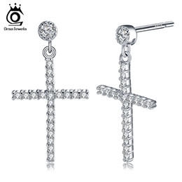 Discount fashion studs earrings - Zircon Earring Pure Sterling Silver for Women Men Real 925 Sterling Silver Cross Stud Earrings Fashion Jewelry SE37