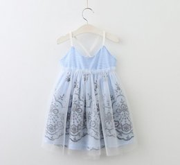 Robes Antidérapantes Pour Filles Pas Cher-New Girls Summer Slip Dress Enfants Florals Striped Lace Tulle Brace Jupe Children Princess Suspender Robes 13148