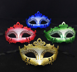 men half face masquerade color masks Canada - 2016 New Sale Party Masks Gold Princess Half Face Mask Venetian Masquerade Mask Halloween Costume Gold Red Green Blue color free shipping