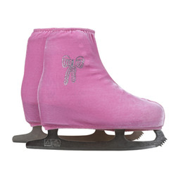 Discount figure skating accessories - Wholesale- 24 Colors Child Adult Velvet Ice Figure Skating Shoes Cover Roller Skate Fabric Cover Accessories Pink Bowkno