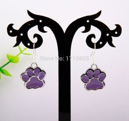 Chinese  Hot 20Pair Lot Fashion Jewelry Enamel Five Color Dog Paw Prints Charm Pendant 925 Sterling Silver Earrings For Womens Accessories S857 manufacturers