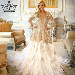 ostrich feathers wedding dress photography gold ruffles crystal long bride dress 2017 wedding dresses serene hill ha2017